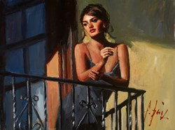 Saba at the Balcony VII Black Dress by Fabian Perez - Original Painting on Stretched Canvas sized 16x12 inches. Available from Whitewall Galleries